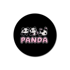 Panda  Rubber Round Coaster (4 Pack)  by Valentinaart