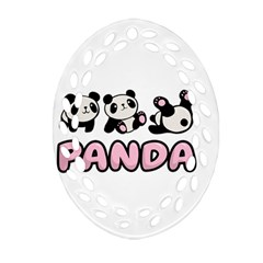 Panda  Ornament (oval Filigree) by Valentinaart