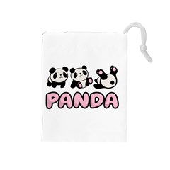 Panda  Drawstring Pouches (medium)  by Valentinaart