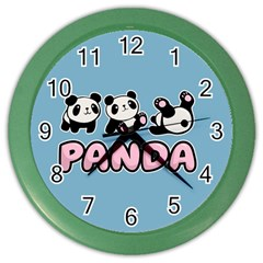 Panda  Color Wall Clocks by Valentinaart
