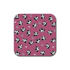 Panda Pattern Rubber Square Coaster (4 Pack)  by Valentinaart