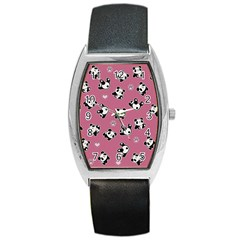 Panda Pattern Barrel Style Metal Watch by Valentinaart