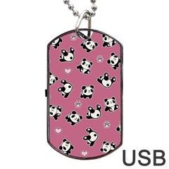 Panda Pattern Dog Tag Usb Flash (two Sides) by Valentinaart