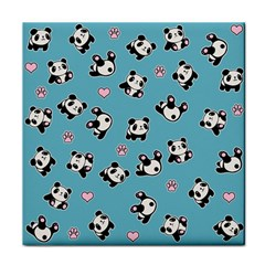 Panda Pattern Face Towel by Valentinaart