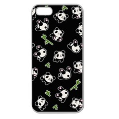 Panda Pattern Apple Seamless Iphone 5 Case (clear) by Valentinaart