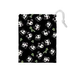 Panda Pattern Drawstring Pouches (medium)  by Valentinaart