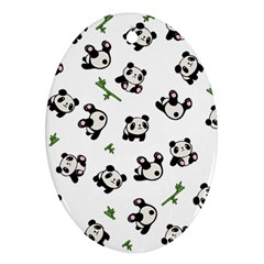 Panda Pattern Oval Ornament (two Sides) by Valentinaart