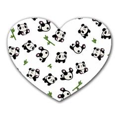 Panda Pattern Heart Mousepads by Valentinaart