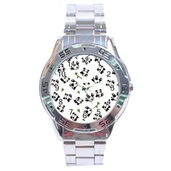 Panda Pattern Stainless Steel Analogue Watch by Valentinaart