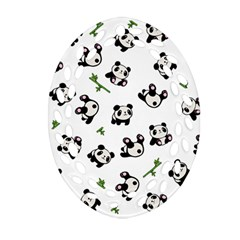 Panda Pattern Oval Filigree Ornament (two Sides) by Valentinaart