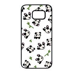 Panda Pattern Samsung Galaxy S7 Edge Black Seamless Case by Valentinaart