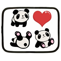 Panda Netbook Case (xxl)  by Valentinaart