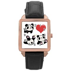 Panda Rose Gold Leather Watch  by Valentinaart