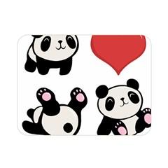 Panda Double Sided Flano Blanket (mini)  by Valentinaart