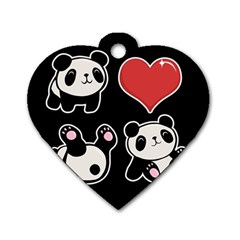 Panda Dog Tag Heart (one Side) by Valentinaart