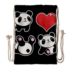 Panda Drawstring Bag (large) by Valentinaart