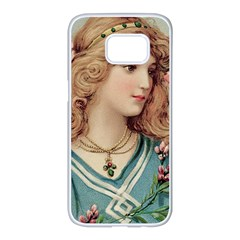 Lady Samsung Galaxy S7 Edge White Seamless Case by vintage2030