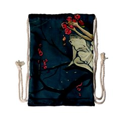 Girl And Flowers Drawstring Bag (small) by vintage2030