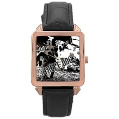 Street Dogs Rose Gold Leather Watch  by Valentinaart