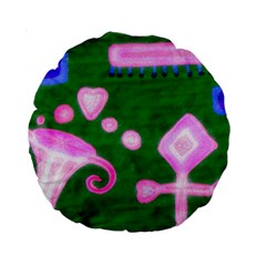 Hearts For The Pink Cross Standard 15  Premium Round Cushions by snowwhitegirl