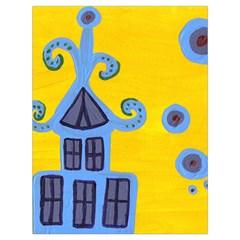 Blue House Drawstring Bag (large) by snowwhitegirl