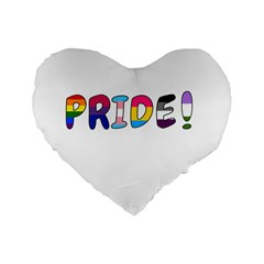 Pride Standard 16  Premium Flano Heart Shape Cushions by Valentinaart