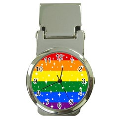 Sparkly Rainbow Flag Money Clip Watches by Valentinaart
