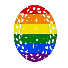 Sparkly Rainbow Flag Oval Filigree Ornament (two Sides) by Valentinaart