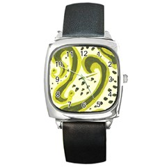 Yellow Swirls Square Metal Watch by snowwhitegirl