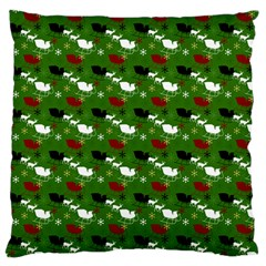 Snow Sleigh Deer Green Large Flano Cushion Case (one Side) by snowwhitegirl