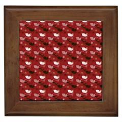 Snow Sleigh Deer Red Framed Tiles by snowwhitegirl