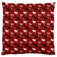 Snow Sleigh Deer Red Large Flano Cushion Case (one Side) by snowwhitegirl