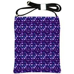 Hearts Butterflies Blue Shoulder Sling Bags by snowwhitegirl