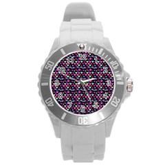 Hearts Butterflies Blue Pink Round Plastic Sport Watch (l) by snowwhitegirl