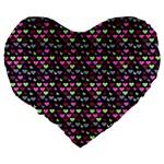 Hearts Butterflies Blue Pink Large 19  Premium Flano Heart Shape Cushions Back