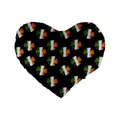 Irish Clover Standard 16  Premium Heart Shape Cushions by Valentinaart