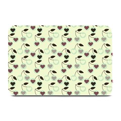 Heart Cherries Mint Plate Mats by snowwhitegirl