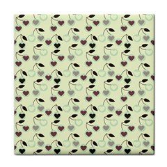 Heart Cherries Mint Face Towel by snowwhitegirl