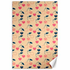 Heart Cherries Cream Canvas 24  X 36  by snowwhitegirl