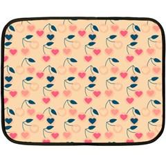 Heart Cherries Cream Fleece Blanket (mini) by snowwhitegirl