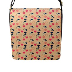 Heart Cherries Cream Flap Messenger Bag (l)  by snowwhitegirl