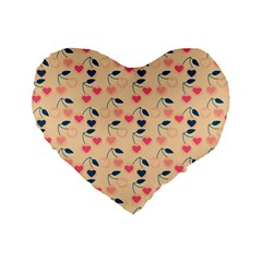 Heart Cherries Cream Standard 16  Premium Flano Heart Shape Cushions by snowwhitegirl