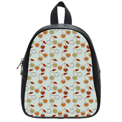 Heart Cherries Grey School Bag (small) by snowwhitegirl