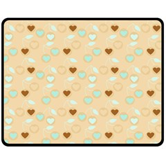 Beige Heart Cherries Fleece Blanket (medium)  by snowwhitegirl