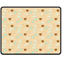 Beige Heart Cherries Double Sided Fleece Blanket (medium)  by snowwhitegirl