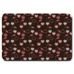 Heart Cherries Brown Large Doormat  by snowwhitegirl