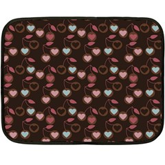 Heart Cherries Brown Fleece Blanket (mini) by snowwhitegirl