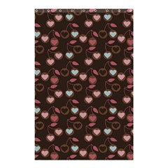 Heart Cherries Brown Shower Curtain 48  X 72  (small)  by snowwhitegirl