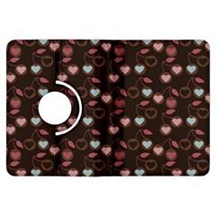 Heart Cherries Brown Kindle Fire Hdx Flip 360 Case by snowwhitegirl