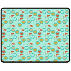 Light Teal Heart Cherries Fleece Blanket (medium)  by snowwhitegirl